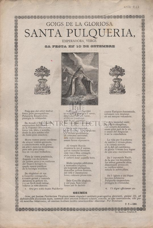 Goigs de la gloriosa Santa Pulqueria, emperadora, verge. Sa festa en 10 de setembre.