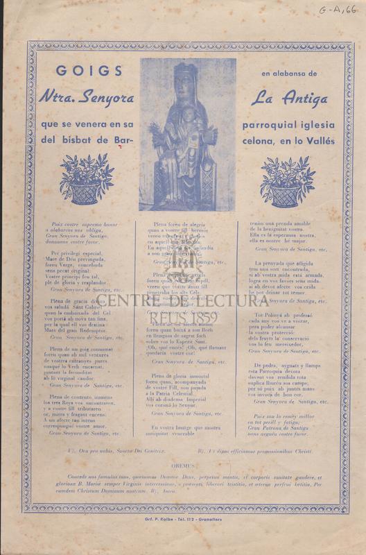 Goigs en alabansa de Ntra. Senyora La Antiga que se venera en sa parroquial iglesia del bisbat de Barcelona, en lo Vallés.