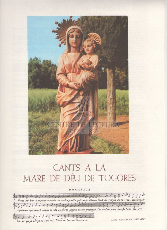 Goigs a llaor de la Mare de Déu de Togores que es venera al terme de Sabadell