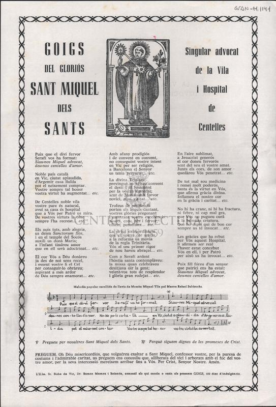 Goigs del gloriós Sant Miquel dels Sants singular advocat de la Vila i Hospital de Cantelles