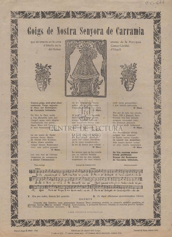 Goigs de Nostra Senyora de Carramia que es venera en la seva ermita de la Parròquia d'Abella de la Conca (Lleida) del Bisbat d'Urgell.