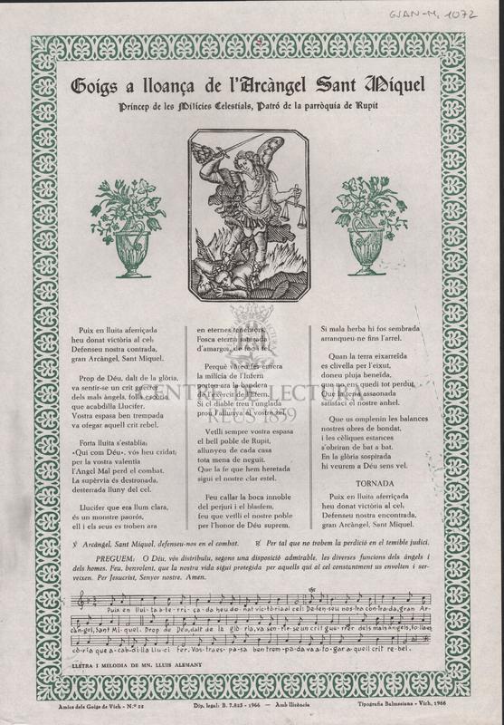Goigs a lloança de l'Arcàngel Sant Miquel príncep de les Milícies Celestials, Patró de la parròquia de Rupit