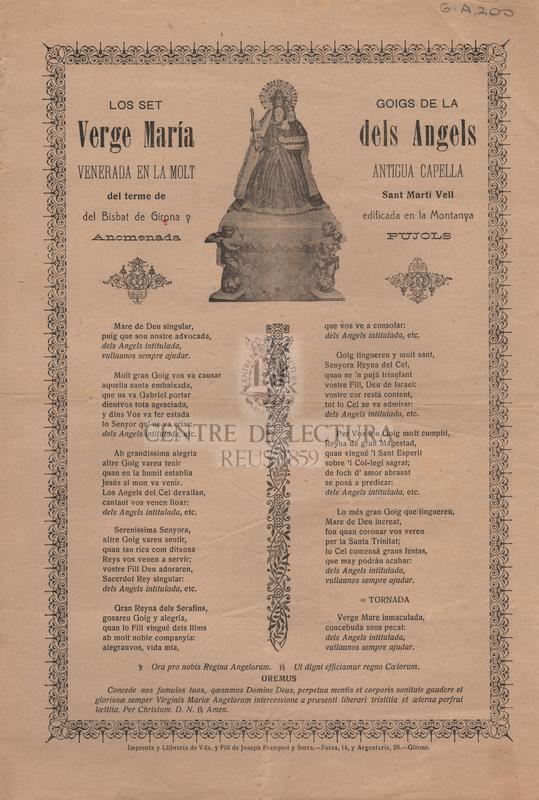 Los set goigs de la Verge María dels Ángels venerada en la molt antigua capella del terme de Sant Martí Vell del Bisbat de Girona y esidficada en la Montanya anomenada Pujol