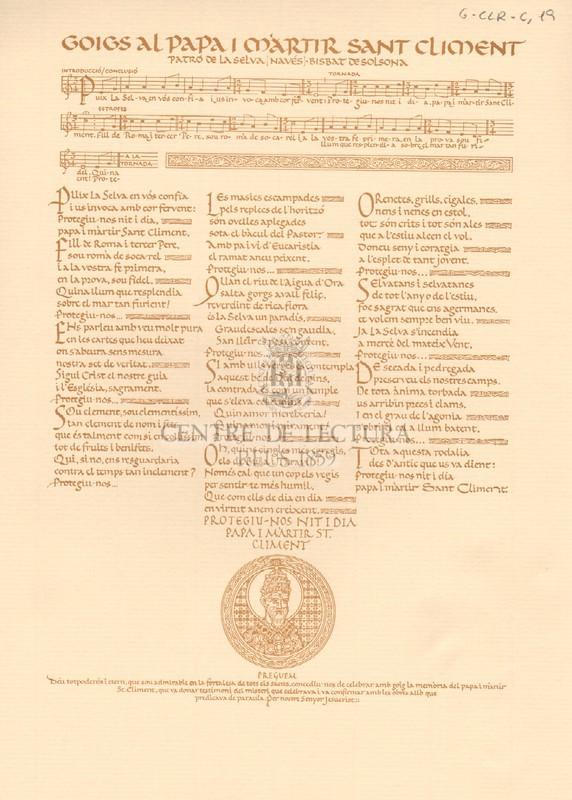 Goigs al papa i màrtir Sant Climent, patró de La Selva (Navés), bisbat de Solsona