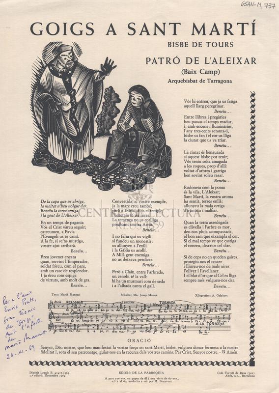 Goigs a Sant Martí Bisbe de Tours. Patró de l'Aleixar (Baix Camp). Arquebisbat de Tarragona