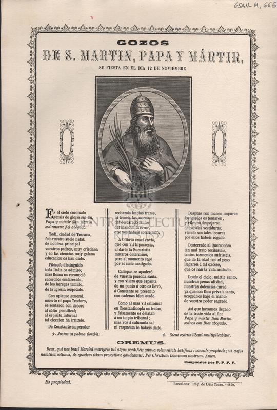 Gozos de S. Martin, Papa y Mártir, su fiesta en el dia 12 de Noviembre