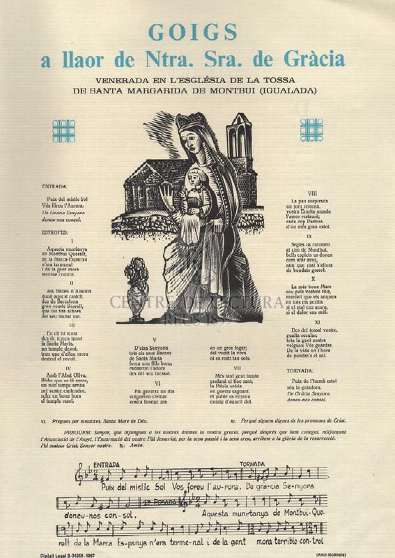 Goigs a llaor de Ntra. Sra. de Gràcia venerada en l'Església de la Tossa de Santa Margarida de Montbui (Igualada)