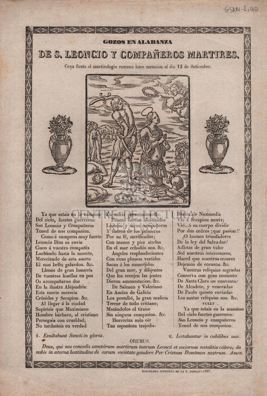 Gozos en alabanza de S. Leoncio y compañeros martires, Cuya fiesta el martirologio romano hace mencion el dia 12 de Setiembre