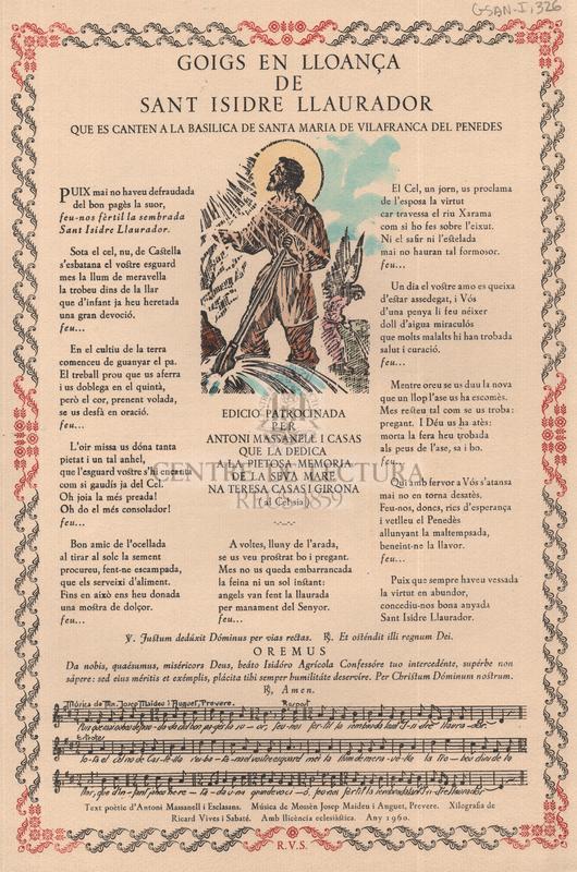 Goigs en lloança de sant Isidre Llaurador que es canten a la Basílica de Santa Maria de Vilafranca del Penedes