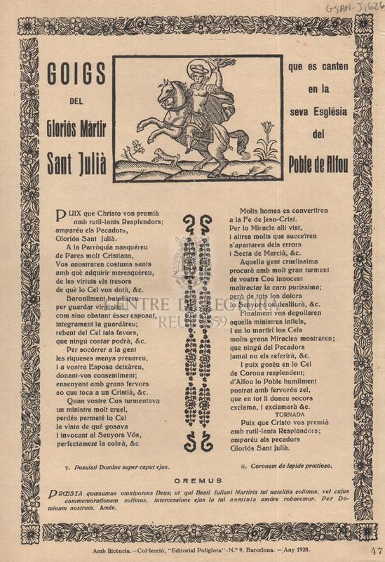 Goigs del Gloriós Màrtir Sant Julià que es canten en la seva Església del Poble de Alfou