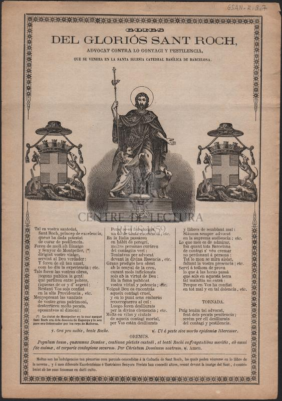 Goigs del gloriós Sant Roch, advocat contra lo contagi y pestilencia, que se venera en la Santa Iglesia Catedral Basílica de Barcelona