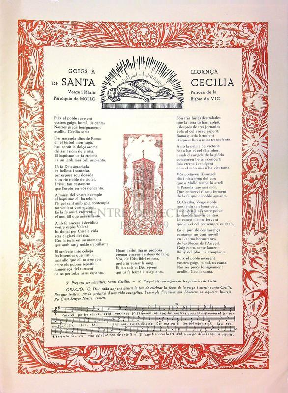 Goigs a lloança de Santa Cecília, Verge i màrtir, patrona de la parròquia de Molló (Bisbat de Vic)