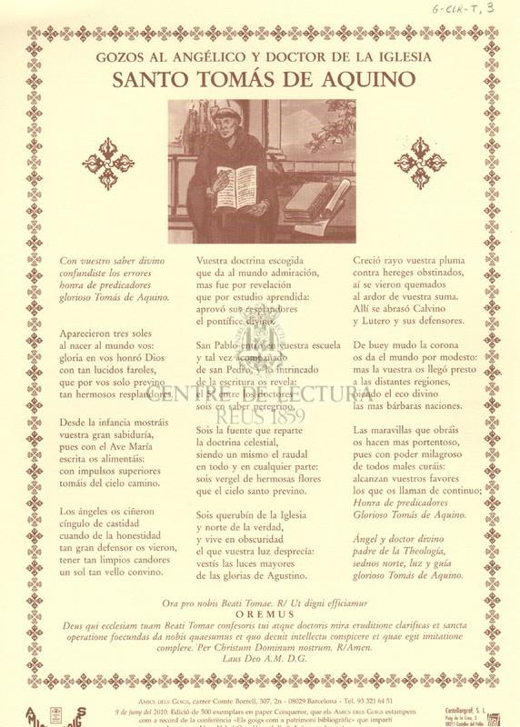 Gozos al angélico y doctor de la iglesia Santo Tomàs de Aquino