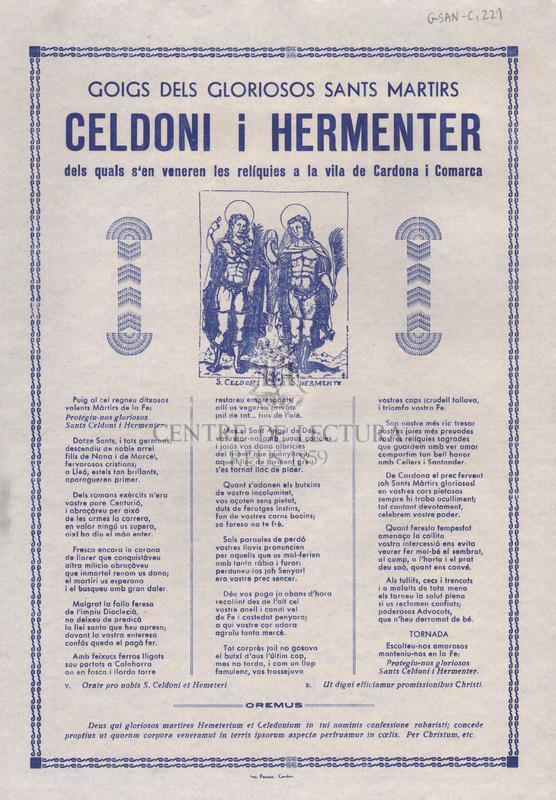 Goigs dels gloriosos sants martirs Celdoni i Hermenter dels quals s'en veneren les relíquies a la vila de Cardona i Comarca