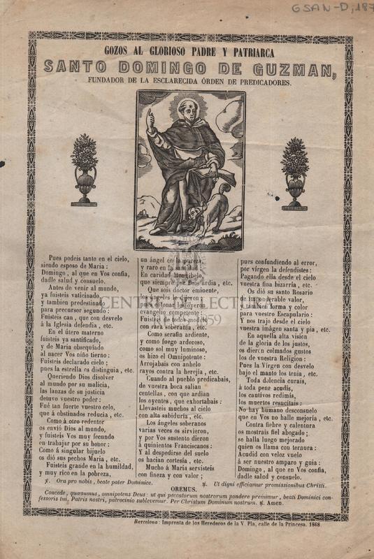 Gozos al gloriosos padre y patriarca Santo Domingo de Guzman, fundador de la esclarecida Órden de Predicadores