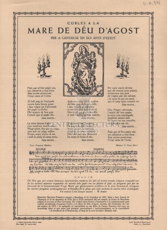 Cobles a la Mare de Déu d'Agost per a cantar-se en els anys d'Eixut