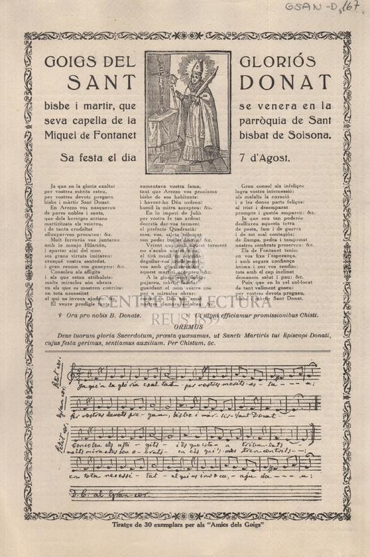 Goigs del gloriós Sant Donat bisbe i martir, que se venera en la seva capella de la parròquia de Sant Miquel de Fontanet bisbat de Solsona. Sa festa el dia 7 d'Agost