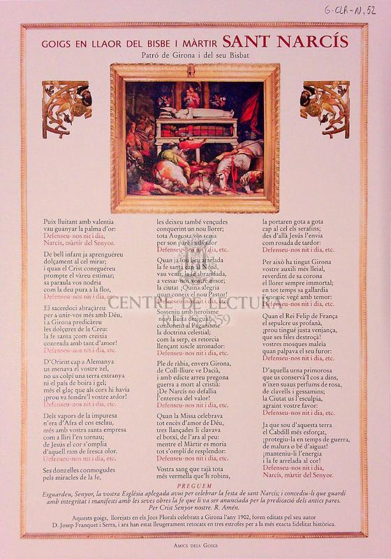 Goigs en llaor del bisbe i màrtir Sant Narcís, patró de Girona i del seu Bisbat