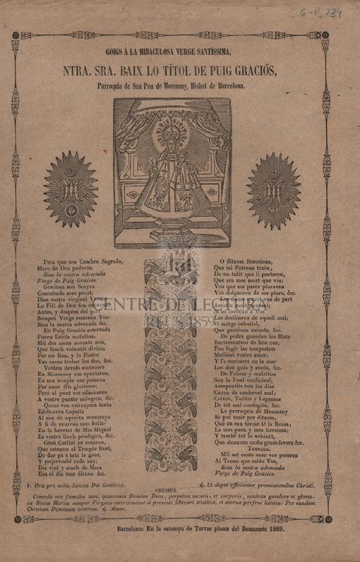 Giogs á la Miraculosa Verge Santíssima, Ntra. Sra. baix lo títol de Puig Graciós, Parroquia de san pau de Monmay, Bisbat de Barcelona.