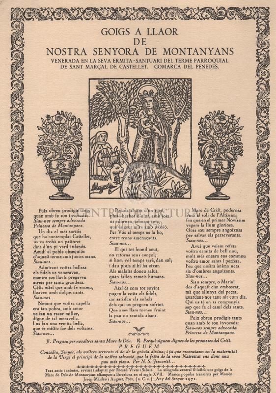 Goigs a llaor de Nostra Senyora de Montanyans venerada en la seva ermita-santuari del terme parroquial de Sant Marçal de Castellet. Comarca del Penedes.