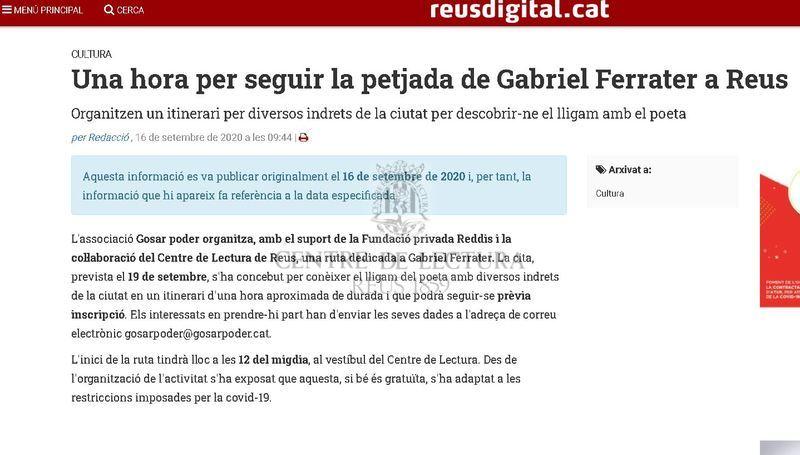 Una hora per seguir la petjada de Gabriel Ferrater a Reus