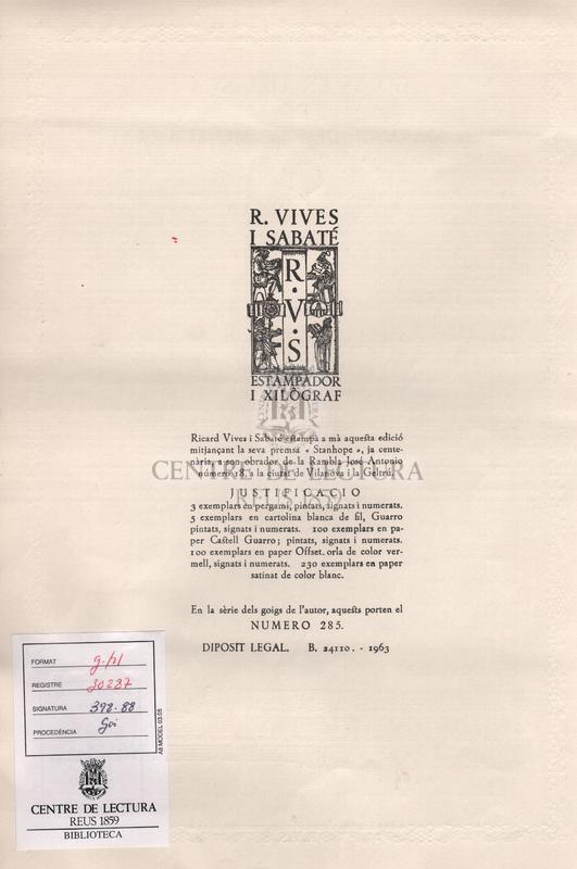 Goigs en lloança de la Mare de Deu de Montserrat venerada a l'esglesia parroquial de Sitges.