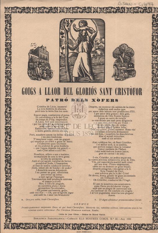 Goigs a llaor del gloriós Sant Cristòfor patró dels xòfers