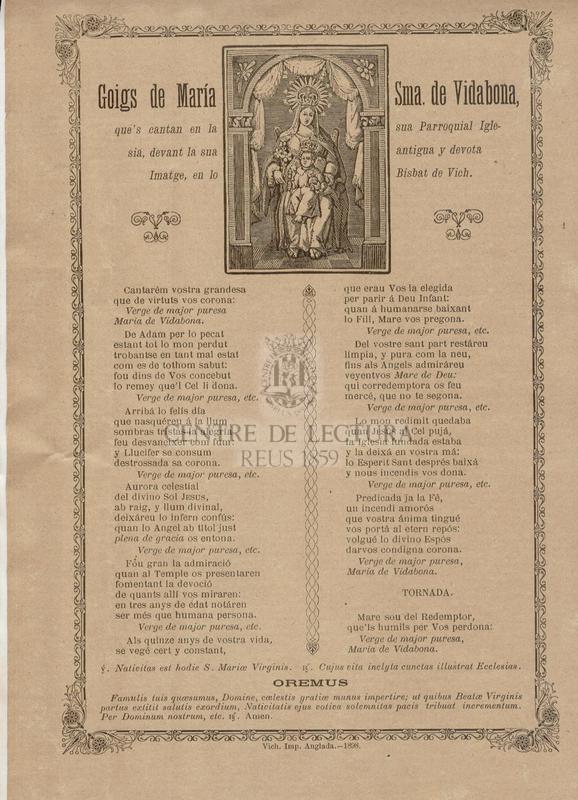 Goigs de María Sma. de Vidabona, que's cantan en la sua Parroquial Iglesia, devant la sua antigua y devota Imatge, en lo Bisbat de Vich