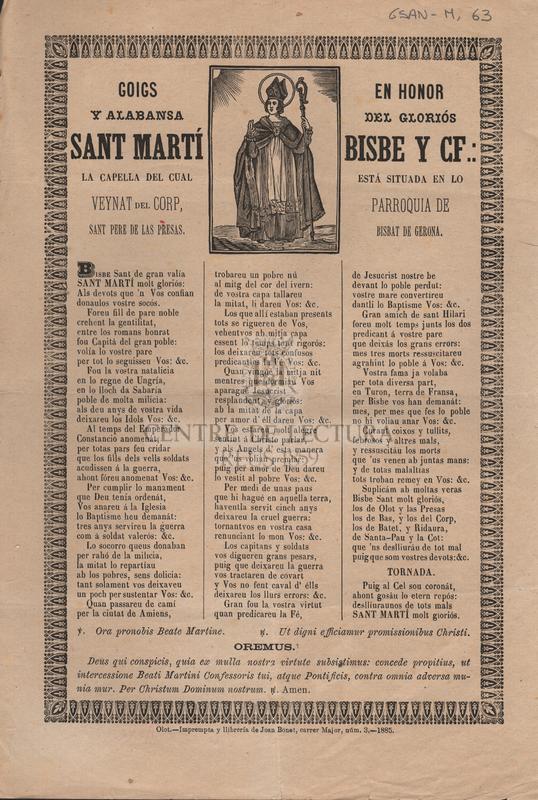 Goigs en honor y alabansa del gloriós Sant Marti bisbe y cf.: La capella del cual está situada en lo veynat del Corp, parroquia de Sant Pere de las Presas. Bisbat de Gerona