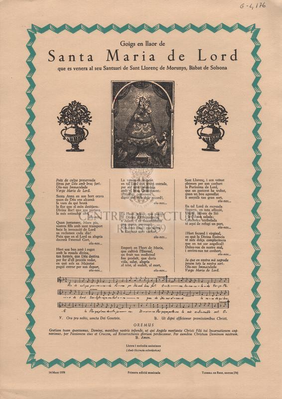 Goigs en llaor de santa Maria de Lord que es venera al seu Santuari de Sant Llorenç de Morunys, Bisbat de Solsona.