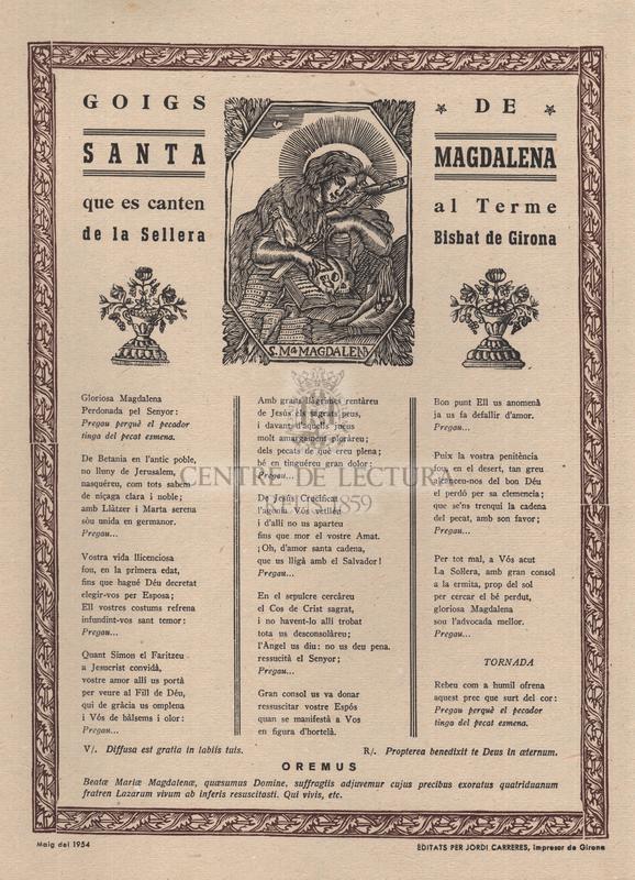 Goigs de santa Magdalena que es canten al Terme de la Sellera, Bisbat de Girona