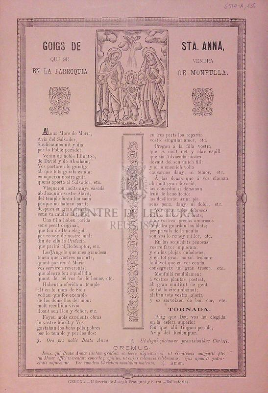 Goigs de Sta. Anna, que se venera en la parroquia de Monfulla