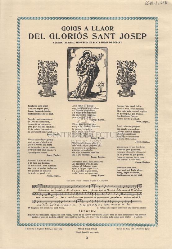 Goigs a llaor del gloriós Sant Josep, venerat al Reial Monestir de Santa Maria de Poblet