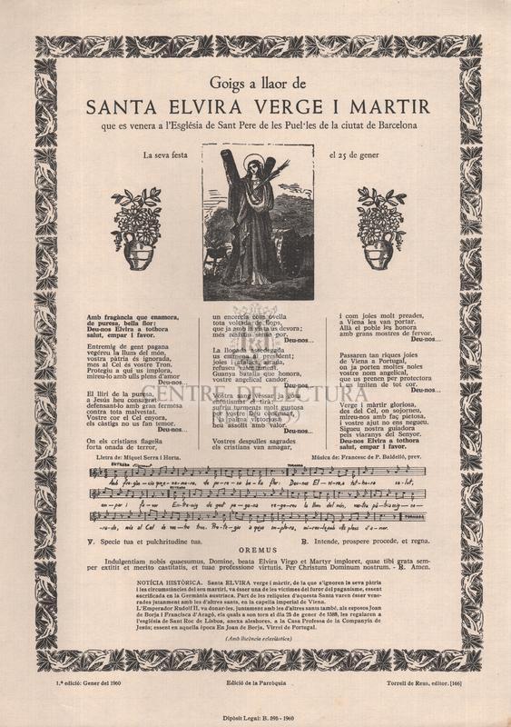 Goigs a llaor de santa Elvira verge i martir, que es venera a l'Església de Sant Pere de les Puel·les de la ciutat de Barcelona, La seva festa el 25 de gener