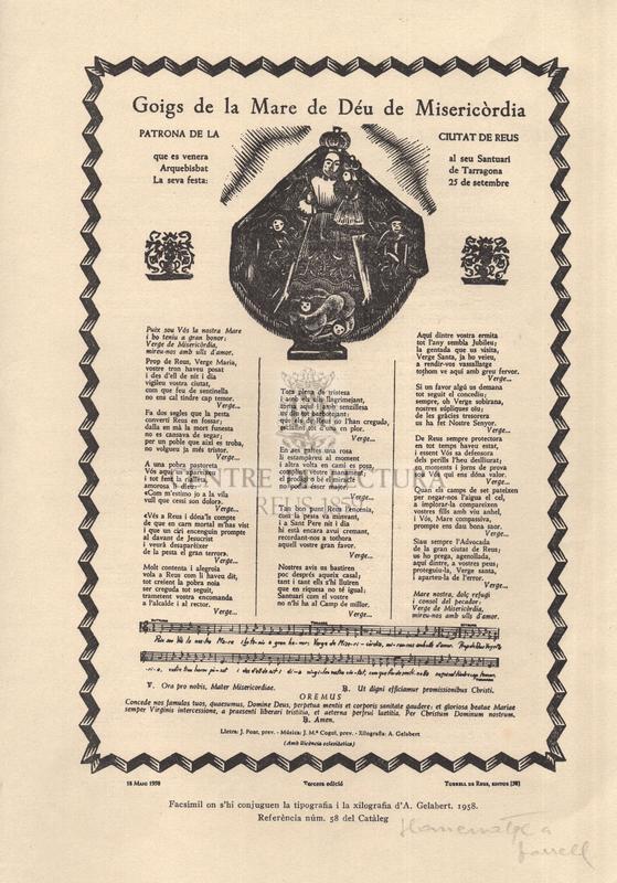 Goigs de la Mare de Déu de Misericòrdia patrona ciutat de Reus que es venera al seu Santuari Arquebisbat de Tarragona. La seva festa: 25 de setembre