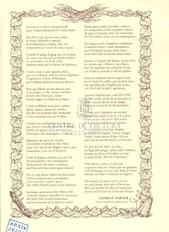 Renovada Pasqua : Oda Claretiana a dues veus en el bicentenari del naixement de Sant Antoni M. Claret (2007-2008)
