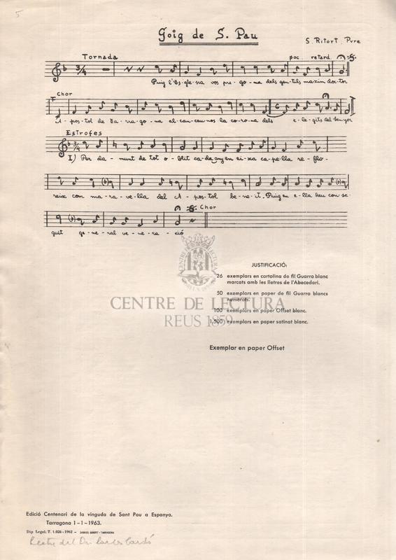 Goigs en llaor del gloriós apóstol Sant Pau que's canten en sa antiga capella del seminari Pontifici de Tarragona