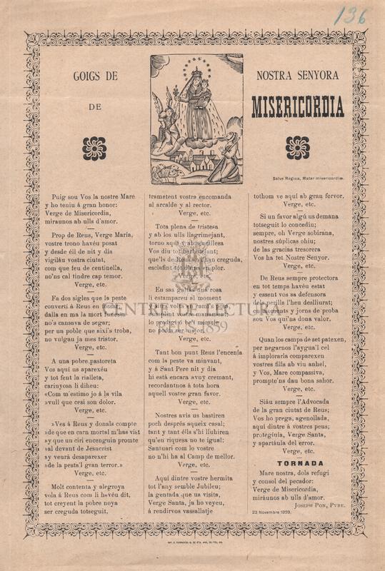 Goigs de Nostra Senyora de Misericordia. Salve Regina, Mater misericordiae