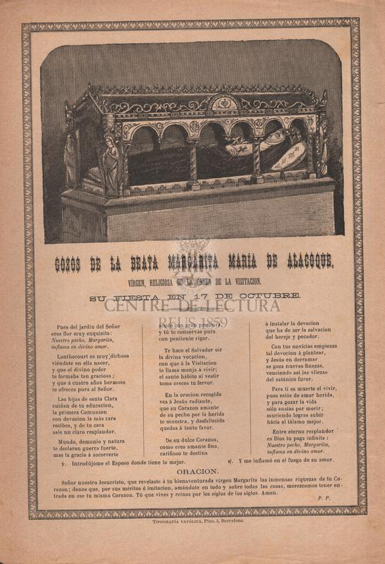 Gozos de la beata Margarita María de Alacoque, vírgen, religiosa de la órden de la Visitación, su fiesta en 17 de octubre