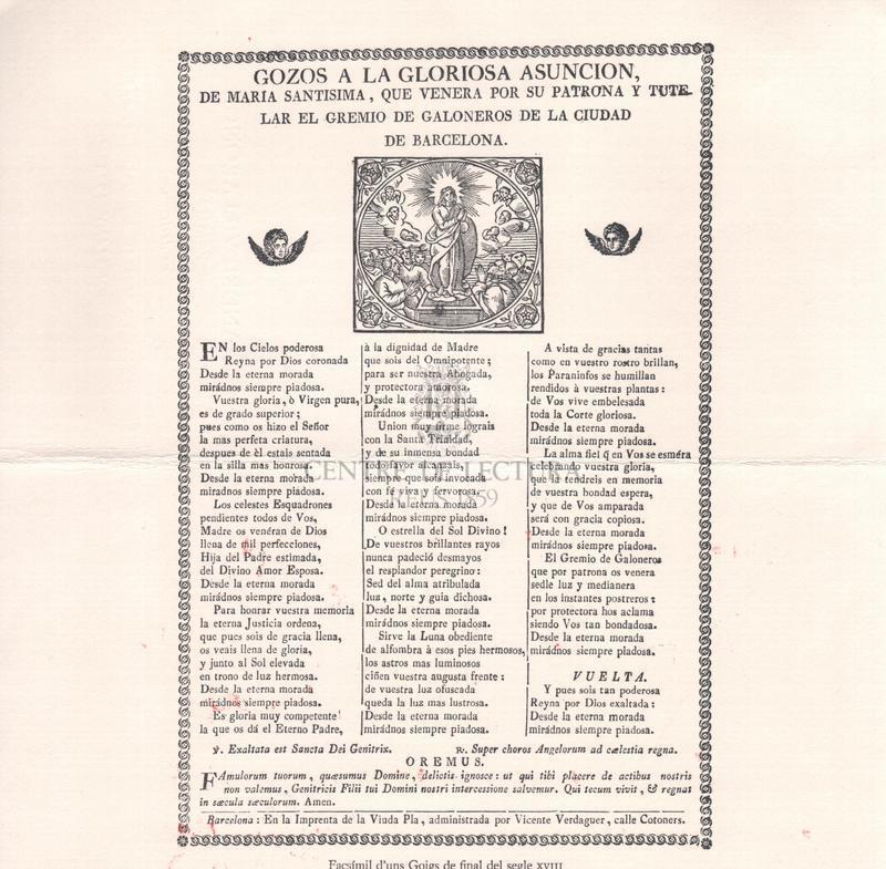 Gozos a la gloriosa Asuncion, de Maria Santisima, que venera por su patrona y tutelar el gremio de galoneros de la ciudad de Barcelona