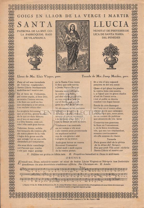 Goigs en llaor de la verge i martir santa Llucia, patrona de la Rnt. Comunitat de preveres de la parroquial basilica de Santa Maria de Vilafranca del Penedes