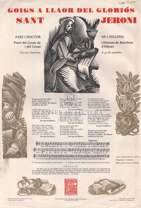 Goigs a llaor del gloriós sant Jeroni, pare i doctor de l'església, Patró del Gremi de Llibreters de Barcelona i del Gremi d'Editors, La seva festivitat: el 30 de setembre