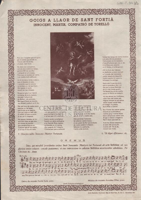 Goigs a llaor de sant Fortià innocent, màrtir, compatró de Torelló