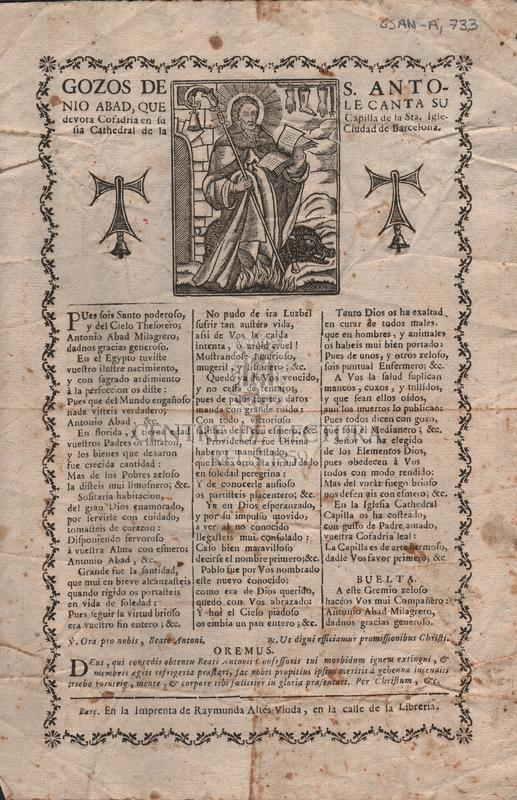 Gozos de S. Antonio Abad, que le canta su devota Cofadria en su Capilla de la Sta. Iglesia Cathedral de la Ciudad de Barcelona