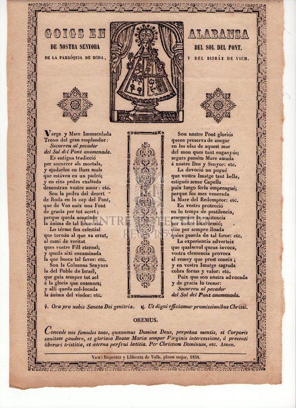 Goigs en alabansa de Nostra Senyora del Sol del Pont, de la parróquia de Roda, y del Bisbat de Vich