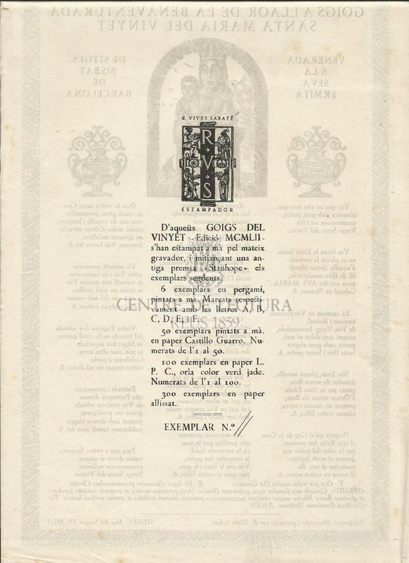 Goigs de la benaventurada Maria del Vinyet venerada a la seva Ermita de Sitges. Bisbat de Barcelona
