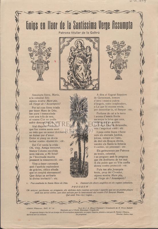 Goigs en llaor de la Santíssima Verge Assumpta Patrona titular de la Geltrú