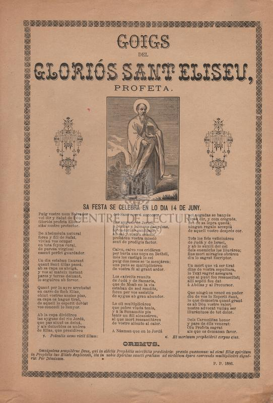 Goigs del gloriós Sant Eliseu, profeta. Sa festa se celebra en lo dia 14 de juny