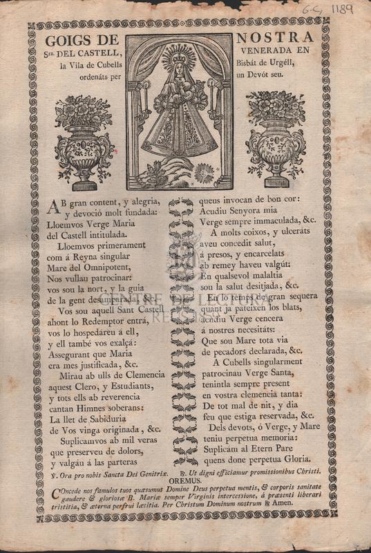 Goigs de Nostra Sra. del Castell, venerada en la Vila de Cubells Bisbát de Urgell, ordenáts per un Devót seu