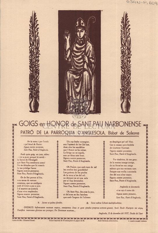 Goigs en honor de Sant Pau Narbonense patró de la parròquia d'Anglesola, Bisbat de Solsona